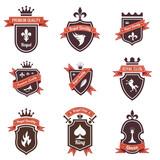 Vintage Labels set. Shield, ribbon, crown. Coat of arms. Retro
