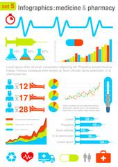 Infographics elements with icons. Medicine & Pharmacy theme