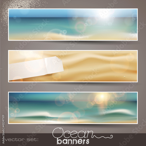 set of three horizontal beach/ocean banners (vector)