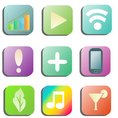 Application buttons set with various icons
