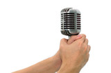 Vintage microphone with hands isolated