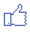 Pixelated Thumb Up, social media icon
