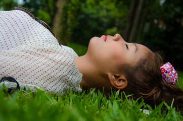 Thai Gril Sleep On Grassland Freely,Feel Free,Touch the World