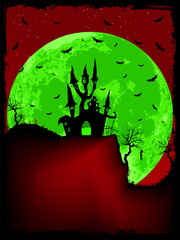 Scary Halloween Castle with Copy Space. EPS 8