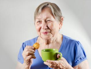 Senior woman with tea cup