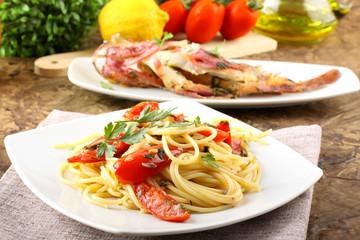 Spaghetti with redfish