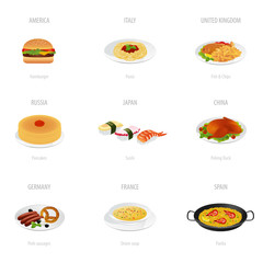 Traditional cuisine (vector set). Food Illustrations