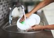 Cleaning dishware kitchen sink sponge washing dish