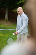 Man Playing Badminton In Park