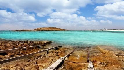 Balearic formentera island Illetes beach with turquoise sea
