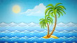 island with tropical palms among sea waves. Retro