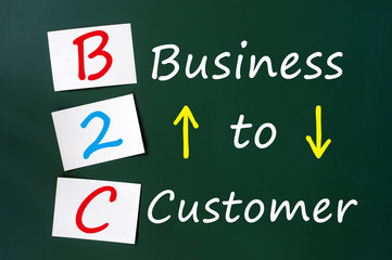 Acronym of B2C - Business to Customer written on a green chalkbo