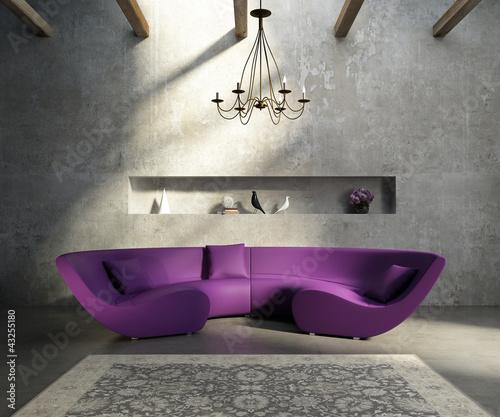 Vintage concrete grungy wall, modern village interior, sofa, rug