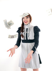 Funny girl throws money. On a white background.