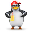 3d Penguin in baseball cap with a nice drink