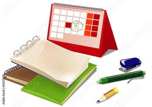 set of office supplies