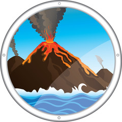view of the volcano from the porthole