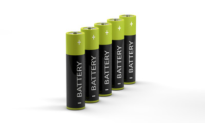 row of standing batteries