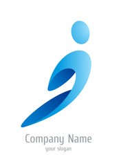 Logo company abstract. Rushing man.