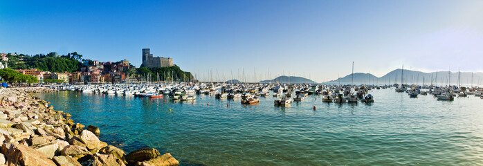 view of Lerici in Liguria with blue mediterranean sea