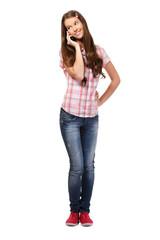 schoolgirl making a phonecall
