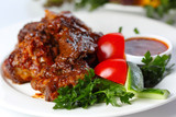 Delicious beef goulash with greens and vegetables