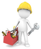 The Handyman. 3D little human character The Builder with toolbox