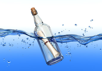 Message in a bottle floating in water