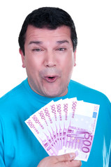 smiling man with 500€  bills