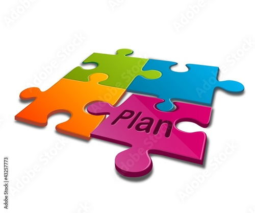vector  jigsaw puzzle with word of plan