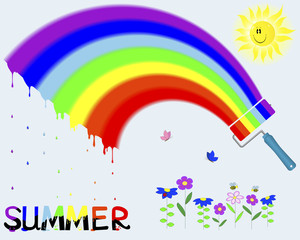 "Rainbow and painted the word ""Summer""."