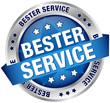 """Button Banner """"Bester Service"""" blau/silber"""