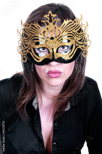 Poster sexy woman with mask on face