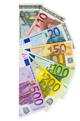 Ein Fächer mit Eurobanknoten von 5 bis 500