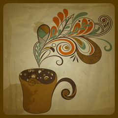 vector retro concept composition with stylized cup of coffee on