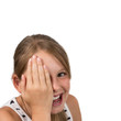 Funny blond Girl holding one Eye, isolated