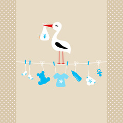 Stork On Clothes Line Baby Symbols Boy Beige Dots