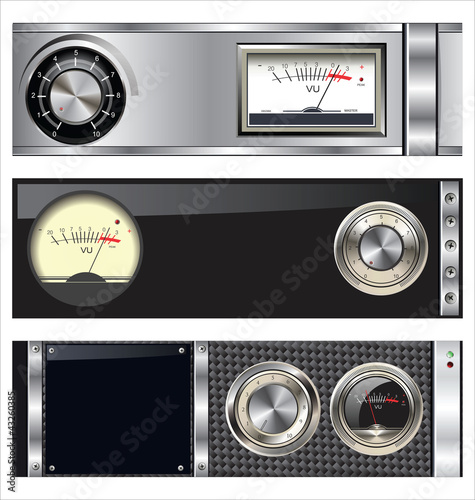 Technology banner with VU meter and volume knob set