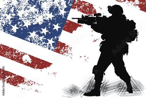 US solgier with an American Flag on the background
