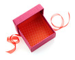 opened red gift box with ribbon isolated on white background