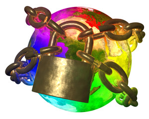 Rainbow Earth breaking golden chain - transformation of world