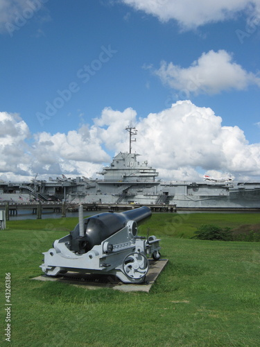 Aircraft Carrier and  the Cannon - USS Yorktown - Museum