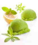 Fresh green lemon or lime icecream