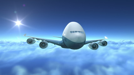 Airplane flying over clouds, 3d animation