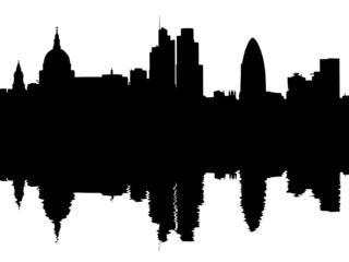 London skyline reflected with ripples illustration