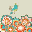 Floral garden and cute bird