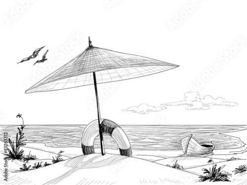 Beach background vector - 43263312