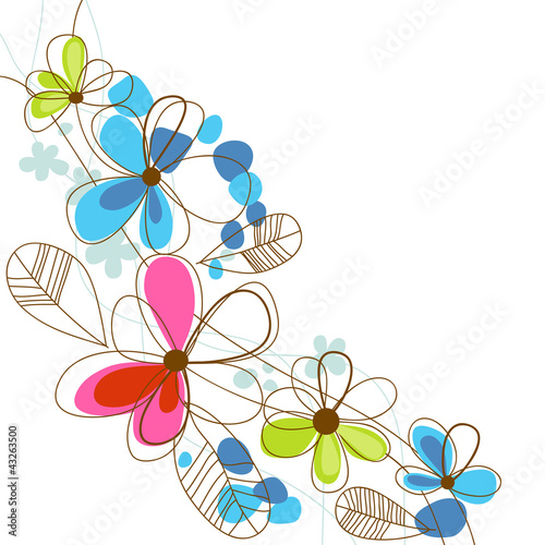 Colorful happy floral background