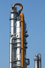 Distillation tower at an oil refinery