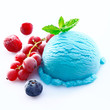 Blueberry icecream with chilled red fruits